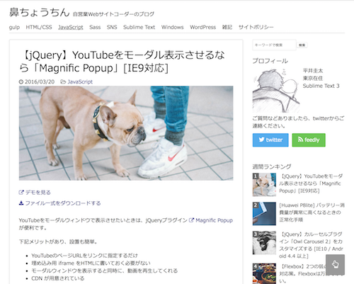 【jQuery】YouTubeをモーダル表示させるなら「Magnific Popup」[IE9対応]